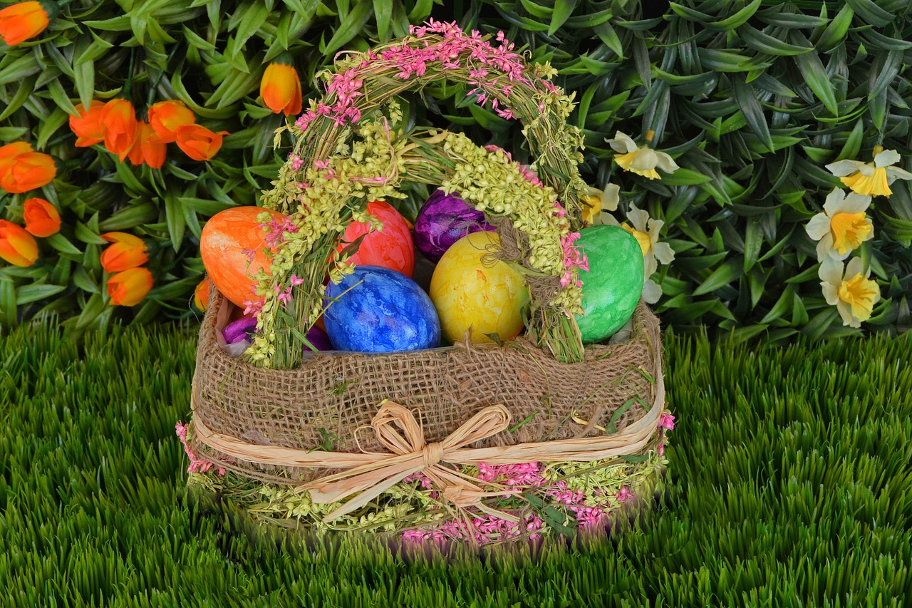basket, easter eggs, easter